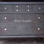 Antique Empire Dresser with a Rich Weathered Black Leather Finish