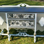 Old White Buffet with Fabric hand painted by Shizzle Design of West Michigan