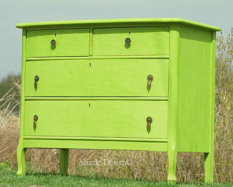 Spring hill green turns an antique dresser into one sassy for Springhill designs