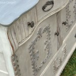 angle shot of antique buffet hand painted by Shizzle Design of West Michigan, Vermont Slate, CeCe Caldwell's, clay, chalk, paint, colors, ideas, DIY, workshops, painted furniture, layers