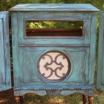 Vintage stereo cabinet painted in a wash of CeCe Caldwell's Destin Gulf Green by Shizzle Design in Grand Rapids Michigan sign up for a paint workshop how to layer paint colors tutorial