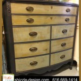 Cannonball highboy bow front chalk clay painted highboy dresser Shizzle Design american paint company grand rapids strip mahogany black gray