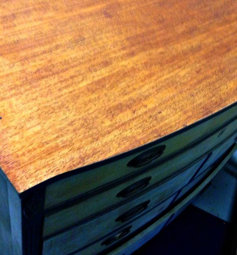 Freedom Road highboy bow front chalk clay painted highboy dresser Shizzle Design american paint company grand rapids strip mahogany