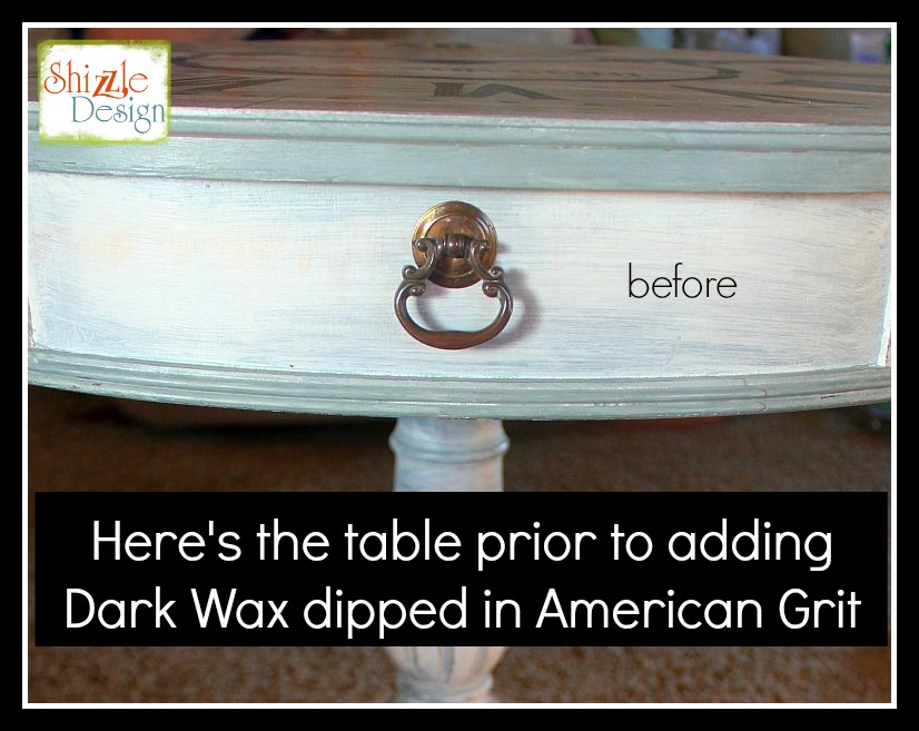 Before-dark-wax-and-american-grit-shizzle design-on-vintage-drum-table-w-clock-face