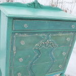 Repurposed Turquoise Highboy Dresser Serves as Coffee Station in Hair Salon on Lake Macatawa