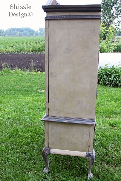 French Country Armoire Shizzle Design, ideas, gray, furniture, chalk, clay, American Paint Company, Michigan dry brush side