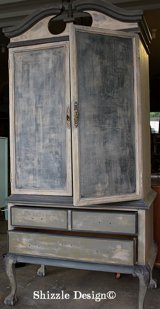 French Country Armoire Shizzle Design, ideas, gray, furniture, chalk, clay, American Paint Company, Michigan funky finish layered doors 15