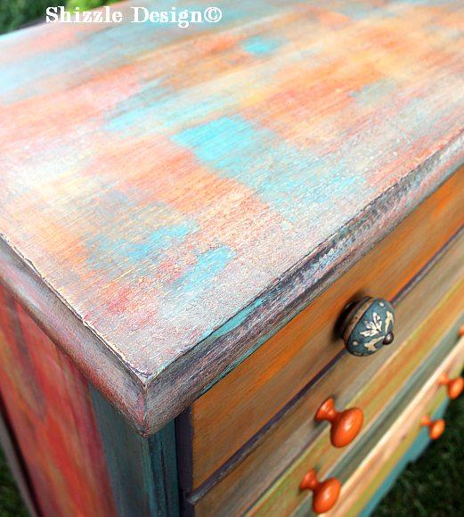 Patchwork #painteddresser Shizzle Design Grand Rapids, Michigan chalk clay paints #paintedfurniture best colors ideas #americanpaintcompany 11