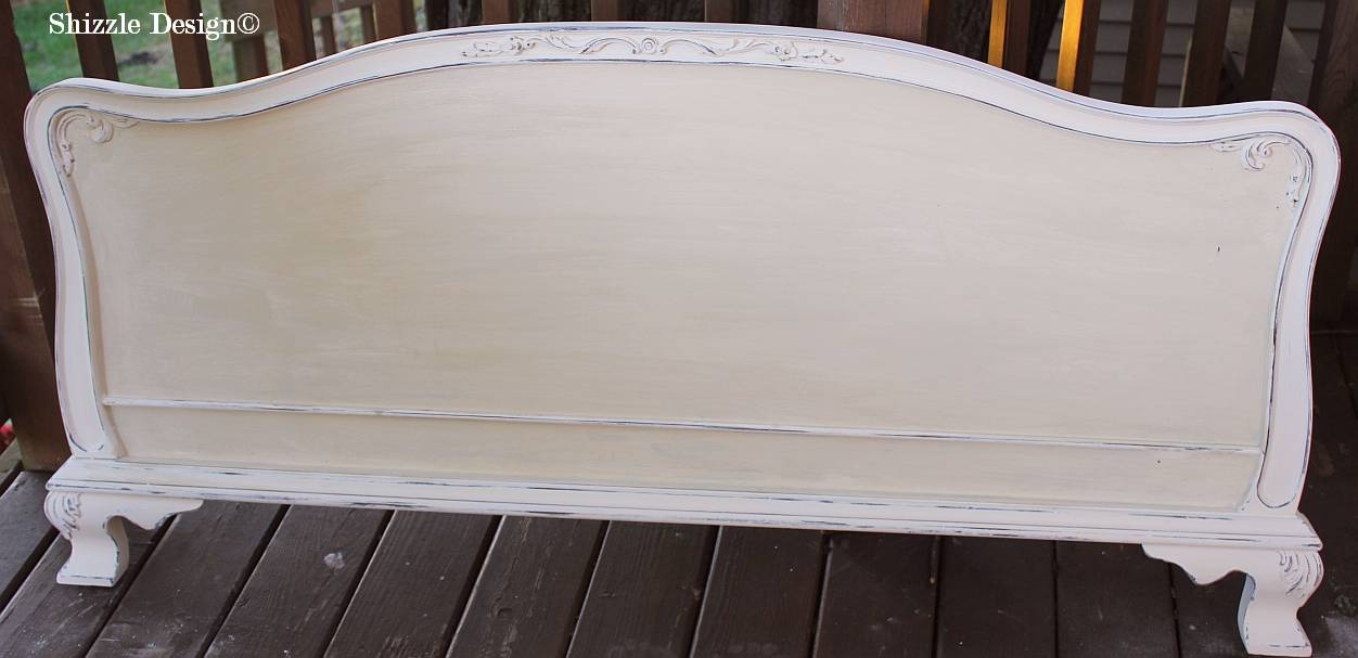 Shizzle Design Michigan #americanpaintcompany white Home Plate Dollar Bill Rushmore Heaven's Light chalk clay paint footboard details 1 shellac