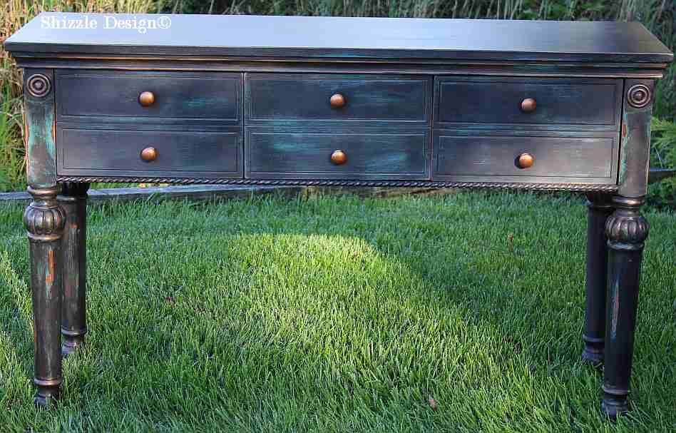 Shizzle Design Black Teal Console Table Heavily Distressed