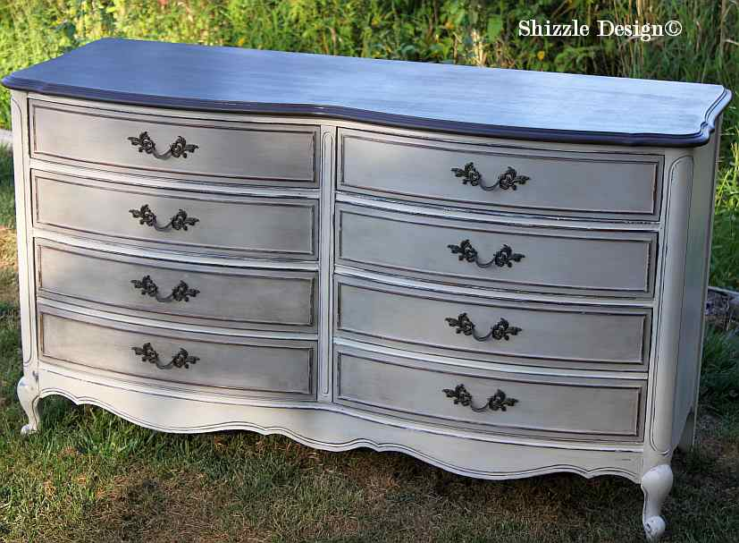 French Provencial dresser painted taupe, white, chalk, clay paints Shizzle Design furniture ideas american paint company Rushmore Home Plate 1