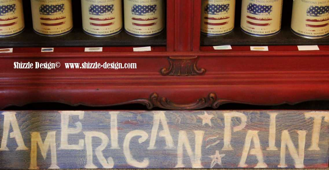 Shizzle Design colors paint chalk clay paints American Paint Company painted Caledonia Vintage Marketplace barn wood sign blue Firework's Red Shining Seas