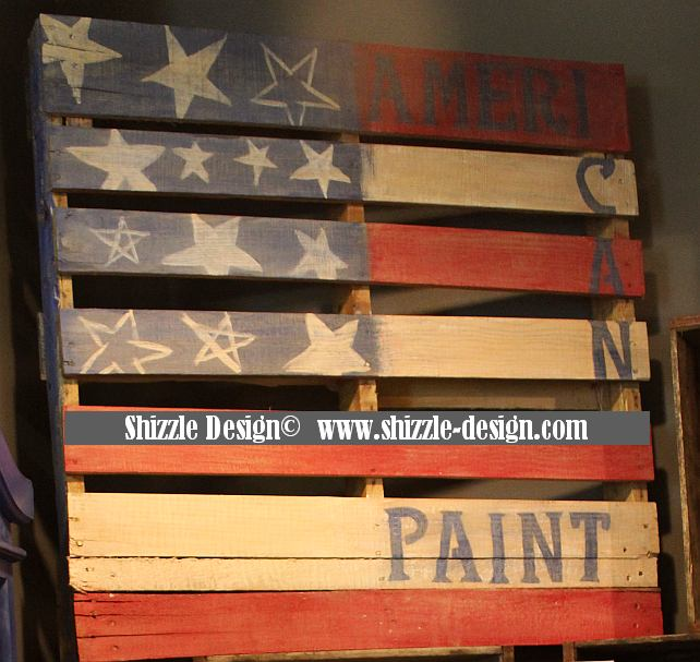 Shizzle Design colors paint chalk clay paints American Paint Company painted Caledonia Vintage Marketplace display case Firework's Red Clear Shining Seas Pallet Flag