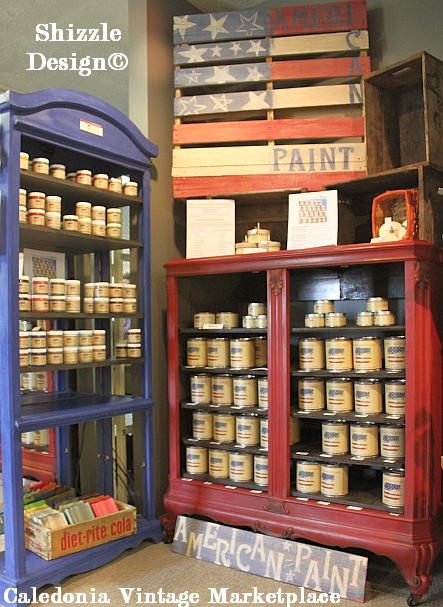 Shizzle Design colors paint chalk clay paints American Paint Company painted Caledonia Vintage Marketplace display cases pallet flag 1