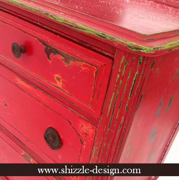 Great Fireworks Red Shizzle Design Paint Studio American Paint Company Highboy  Blue Green Red Chalk Clay Dresser