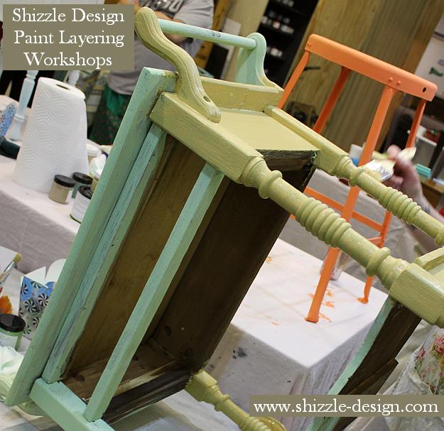 Nov Shizzle Style Furniture Painting Workshop 2018 Chicago Drive Jenison Michigan 49428 www.shizzle-design.com retailer buy chalk clay paint layering ideas tips table