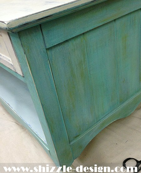 Shizzle Design chalk and clay painted furniture coffee table turquoise American Paint Company Women's Expo ideas colors