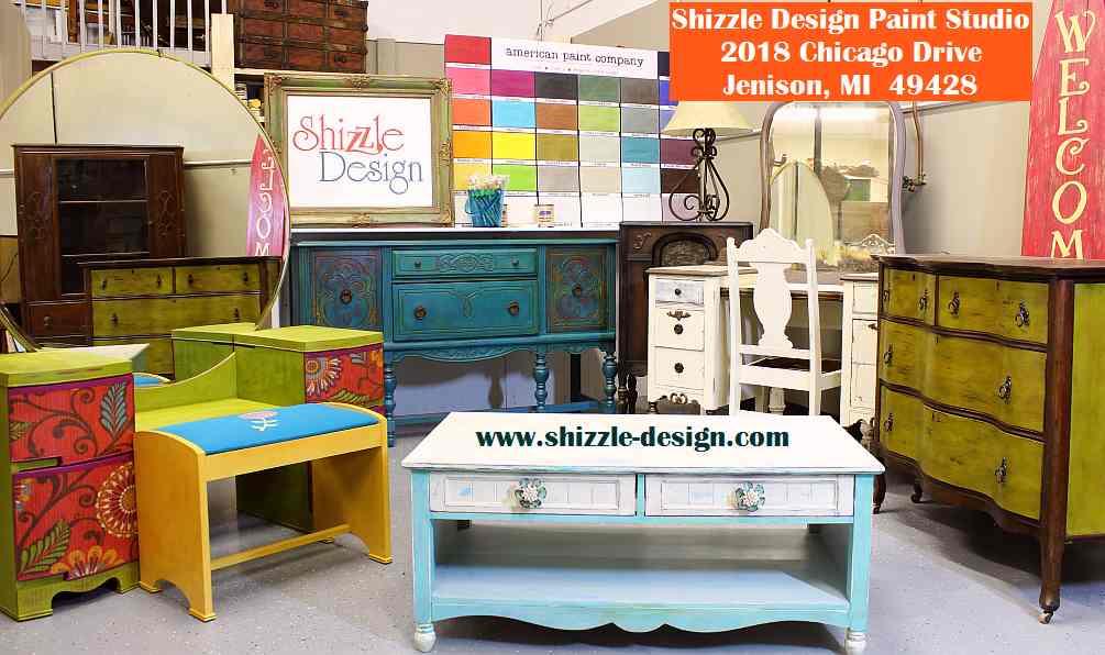 shizzle design paint studio 2018 Chicago Drive Jenison MI  American Paint Company CeCe Caldwell's Paints retailer buy chalk clay instructor workshops paint retailer 1