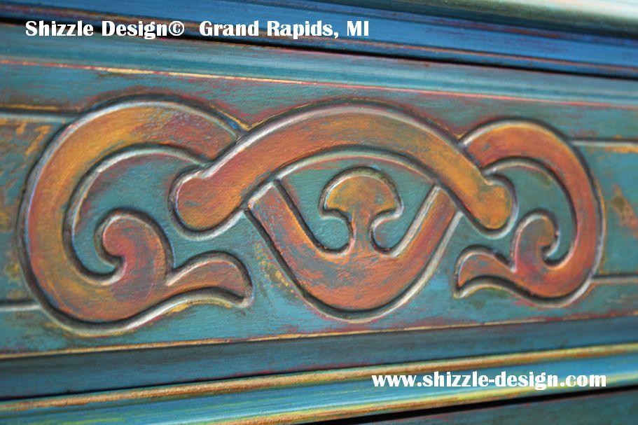 American Paint Company's Peacock hand painted antique buffet Shizzle Design 2018 Chicago Drive Jenison MI  49428 www.shizzle-design.com teal chalk clay paints