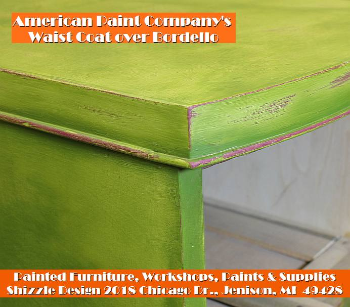 Shizzle Design chalk clay paint Grand Rapids MI American Paint Company green painted vanity colorful workshops 2018 chicago dr., Jenison, MI 49428 waist coat bordellow vanity