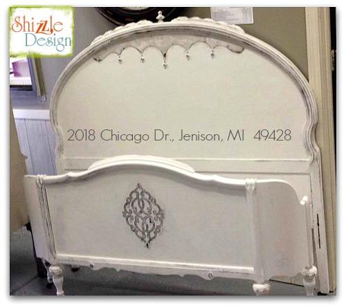 Shizzle Design Antique Bed American Paint Company Navajo White Rushmore Michigan chalk clay headboard