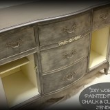 French Provincial Buffet Refinished with American Paint Company's Chalk & Clay Paints & Black Mica Powder
