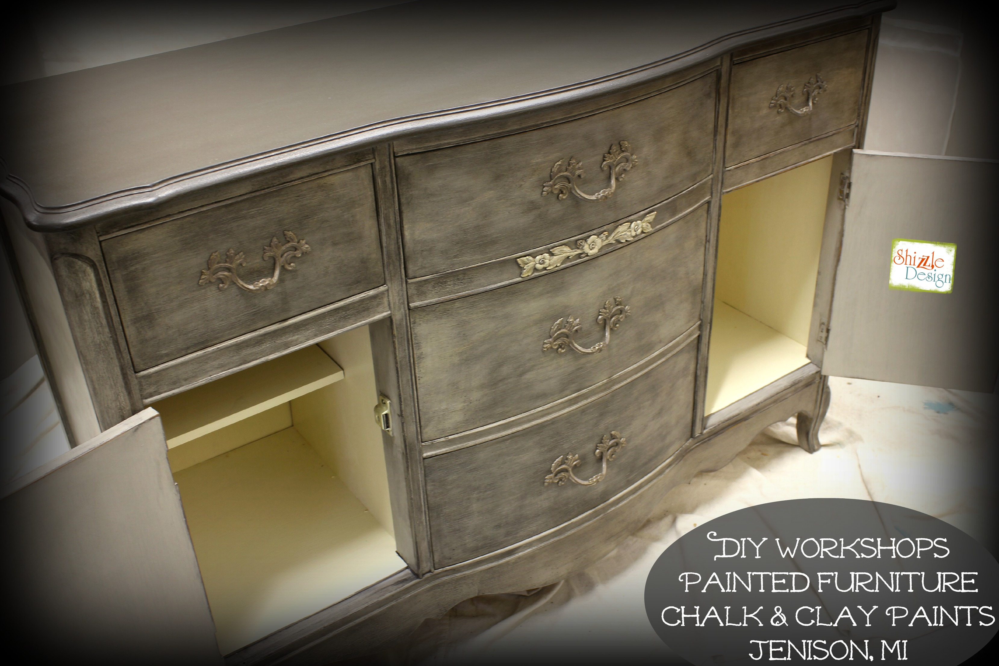 French Provincial Buffet Refinished With American Paint Company S Chalk Clay Paints Black Mica Powder Zle Design