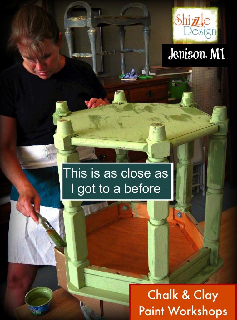 Chalk paint ideas Shizzle Design painted furniture workshops best class Jenison Michigan American Paint Company Nana Cupboard 1