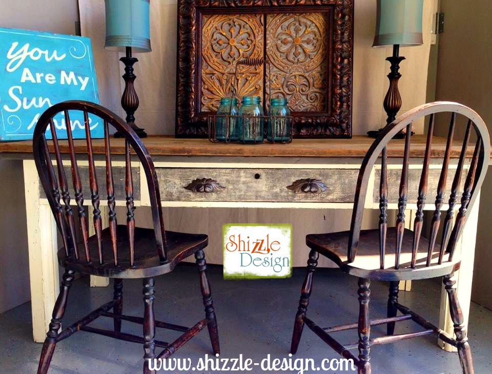 Vintage Library Harvest Farm Table Painted chak clay paint Shizzle Design American Paint Company White Gray Reclaimed barm wood 3