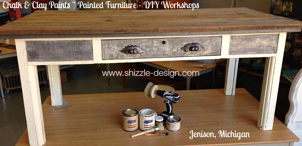 Vintage Library Harvest Farm Table painted chalk clay paints Shizzle Design American Paint Company White Gray Reclaimed Barn Wood 1