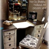 Charming Antique Vanity Blinged with Pewter and Copper Mica Powders