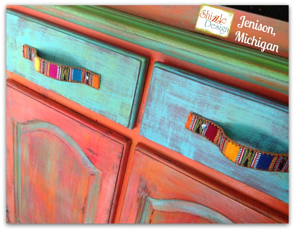 Shizzle Design buy American Paint Company chalk clay paint supplies retailer turquoise orange whimisical funky colors furniture
