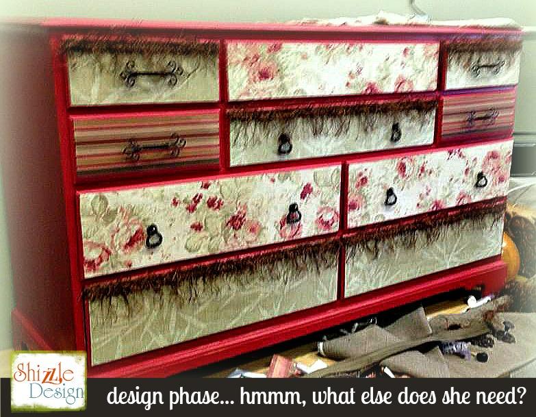 design phase fabric decoupaged dresser shizzle design painted furniture ideas