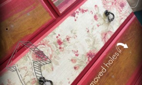 How We Decoupage Fabric to Furniture onto Painted Furniture