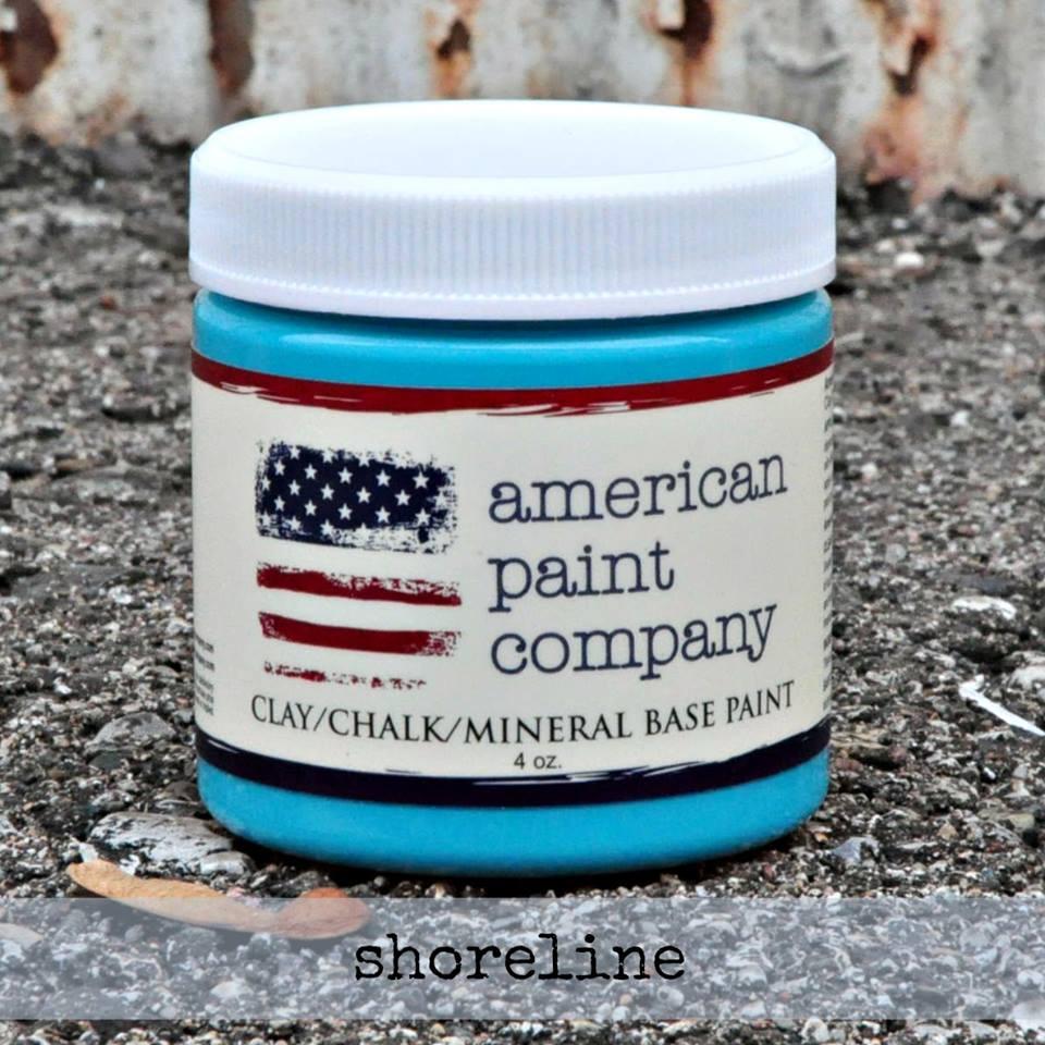 American Paint Company Shoreline blue new colors Shizzle Design www.shizzle-design.com chalk clay paint ideas sample pot