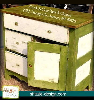 Nanas Cupboard chalk paint green painted furniture dresser chest american michigan retailer shizzle design