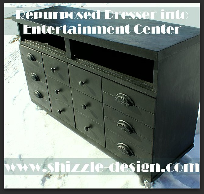 Shizzle Design American Paint Company black entertainment center painted dresser repurposed chalk clay ideas 1