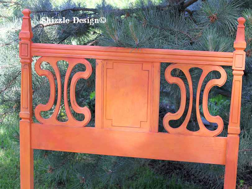 Two twin beds painted by Shizzle Design in West Michigan American Paint Company's Coral Reef and Orange Grove chalk clay mineral paint 1