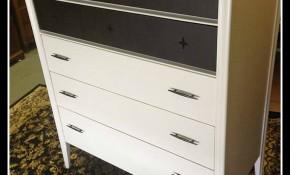 Broyhill Saga Premier Mid Century Modern Highboy & Dresser Updated in White and Java Gel Stain