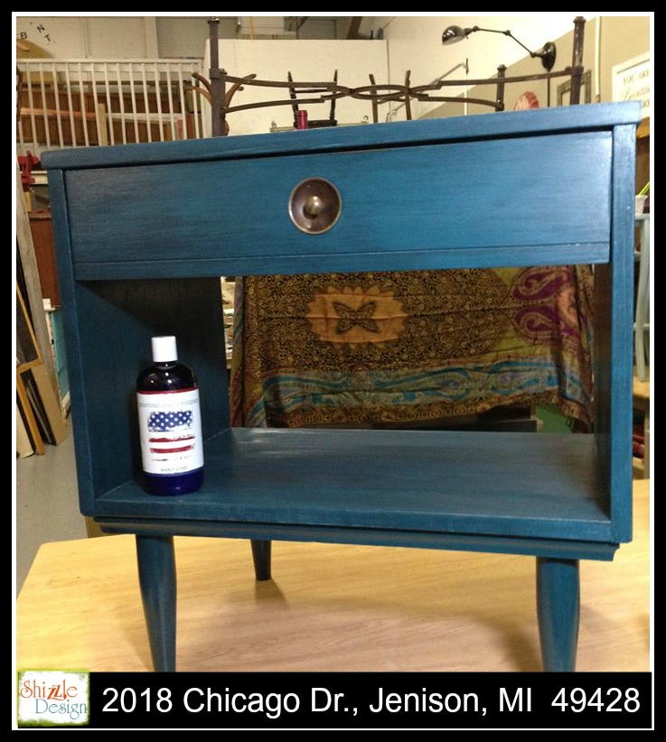 Peacock blue mid century modern side table painted furniture ideas chalk paint shizzle design michigan