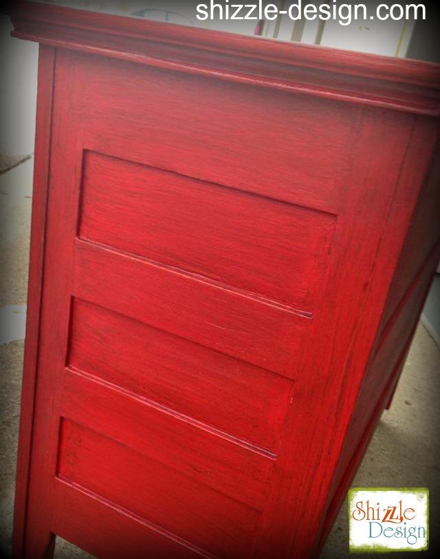 Firework's Red - Curved Oak Dresser shizzle design chalk paint ideas painted furniture michigan Shizzle Design 4
