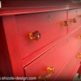 Firework's Red - Curved Oak Dresser shizzle design chalk paint ideas painted furniture michigan Shizzle Design 5