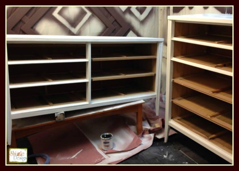Mid Century Modern Broyhill Saga Star white paint Shizzle Design Grand Rapids Michigan chalk painted furniture