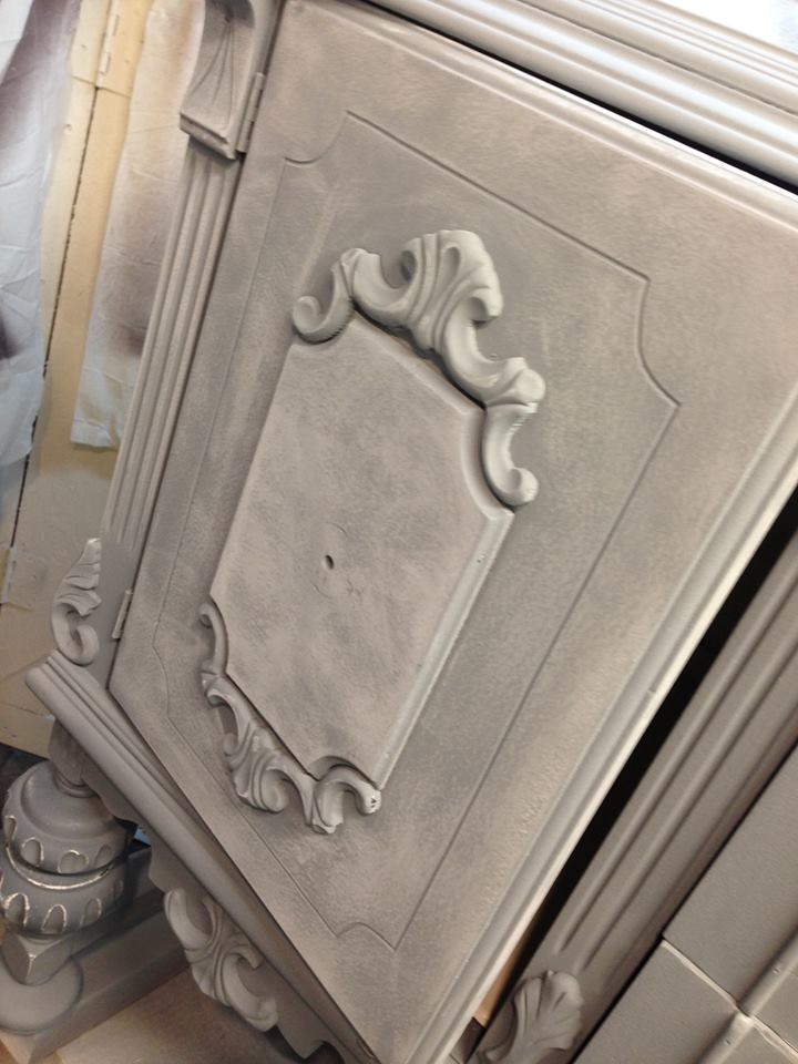 Tarnished Platter American Paint Company Shizzle Design gray blue buffet sideboard chalk painted furniture ideas Michigan supplies 2