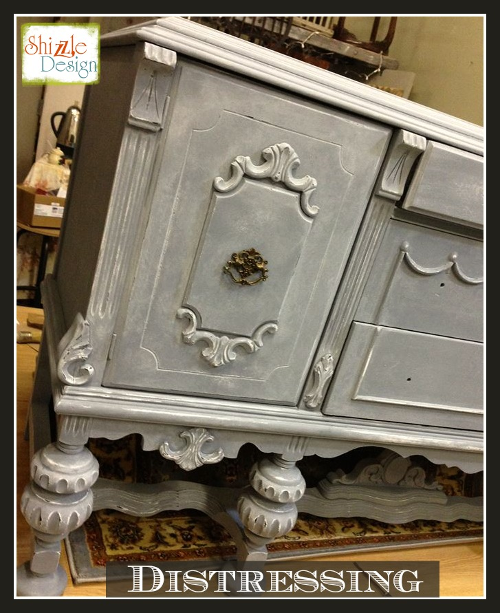 Tarnished Platter American Paint Company Shizzle Design gray blue buffet sideboard chalk painted furniture ideas Michigan supplies wet distress 2
