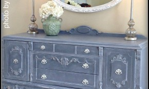 Black Lacquer Buffet gets a Whole New Look with Tarnished Platter Blue Gray, White Glaze & White Wax