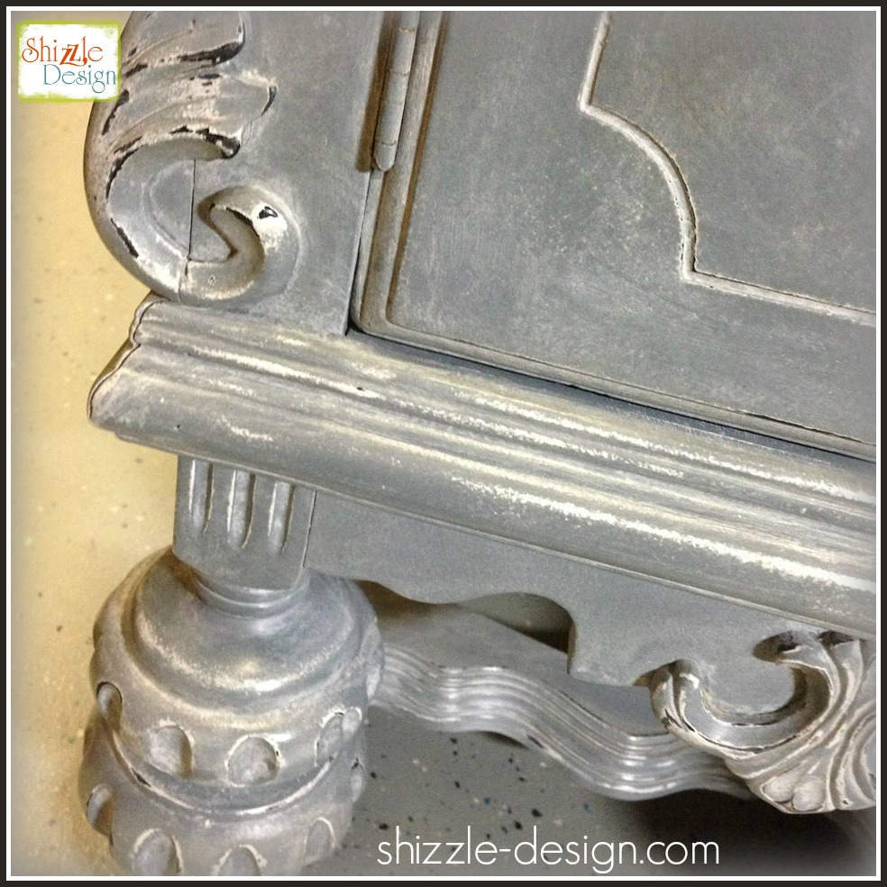 Tarnished Platter American Paint Company Shizzle Design gray blue buffet sideboard chalk painted furniture ideas Michigan white wash glaze wax annie sloan cece caldwell faux real 2