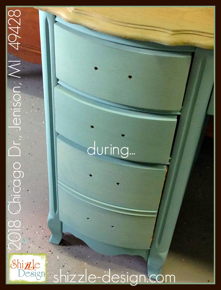 aqua blue french provincial desk shizzle design smooth finish chalk faux real mineral paint painted furniture grand rapids michigan cece caldwell american paint company colors