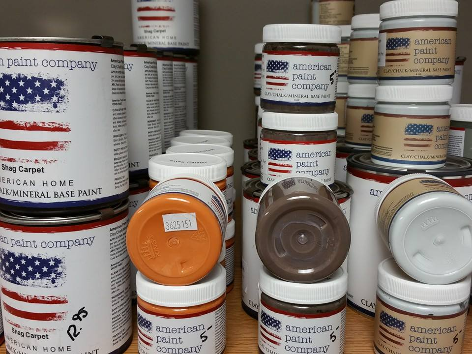 American Paint Company Retired Chalk Clay Paint Sale Clearance Michigan Retailer Shizzle Design www.shizzle-design.com 2018 Chicago Drive Jenison MI 49428 brown, orange