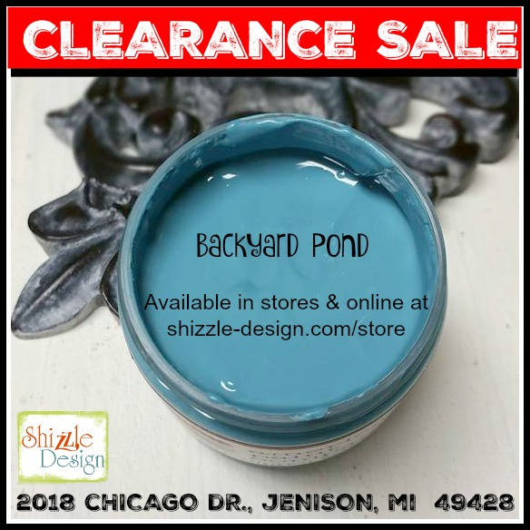 Clearance on American Paint Company chalk clay paint retired colors backyard pond low prices at Shizzle Design fast reliable flat rate shipping Jenison Michigan